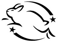 Black and white leaping bunny logo
