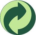 Green dot symbol of two intertwined green rain drops